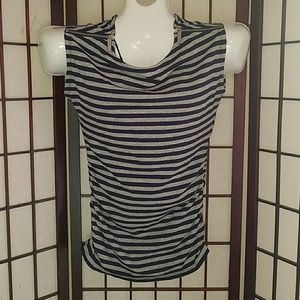 Michael Kors Navy/Gray Striped Top Silver Zippers